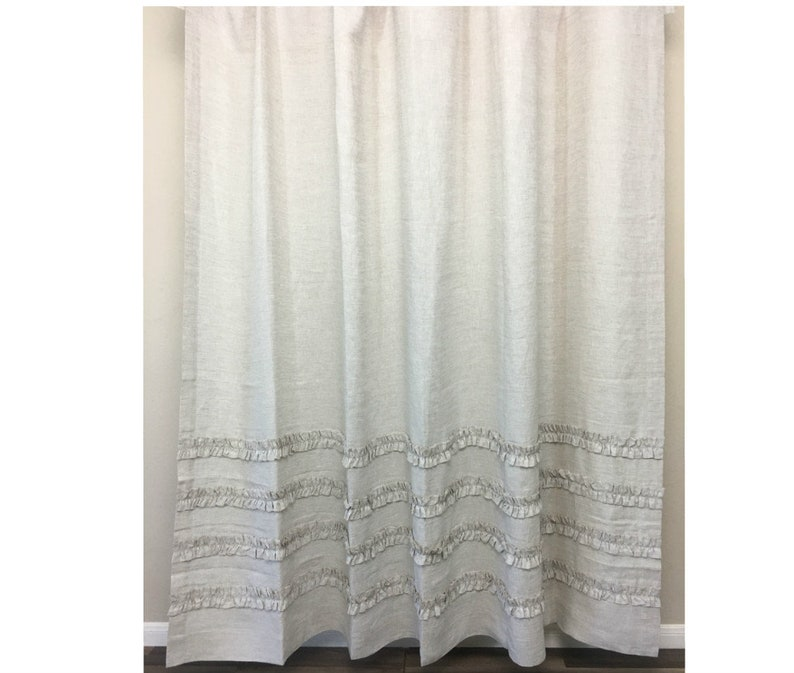 Natural Linen Shower Curtain With 4 Rows Of Ruffles Undyed Farmhouse Sty