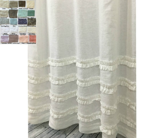 Linen Shower Curtain With 4 Rows Of Ruffles 72x72 72x85