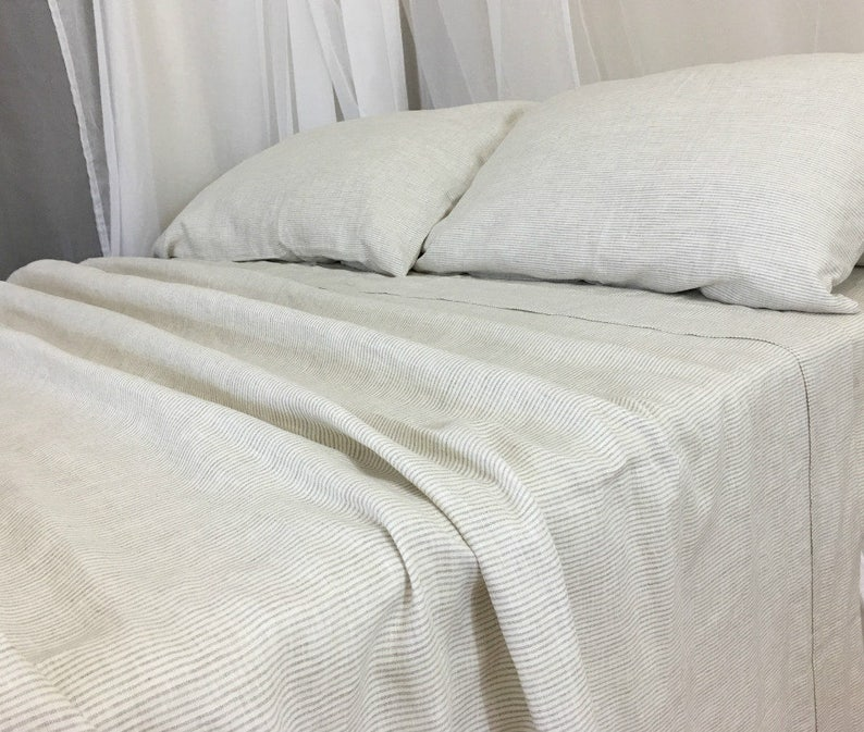 Linen Ticking Striped Bed Sheets Handmade In Natural Linen Etsy