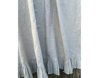 Ruffled Shower Curtain Subtle Black And White Ticking Stripe 72x72 72x85 72x94 Striped With Ruffle Hem