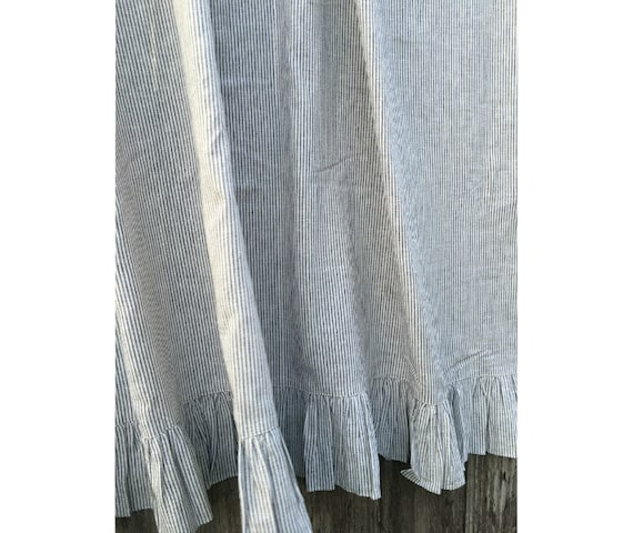 Ruffled Shower Curtain Subtle Black And White Ticking Stripe