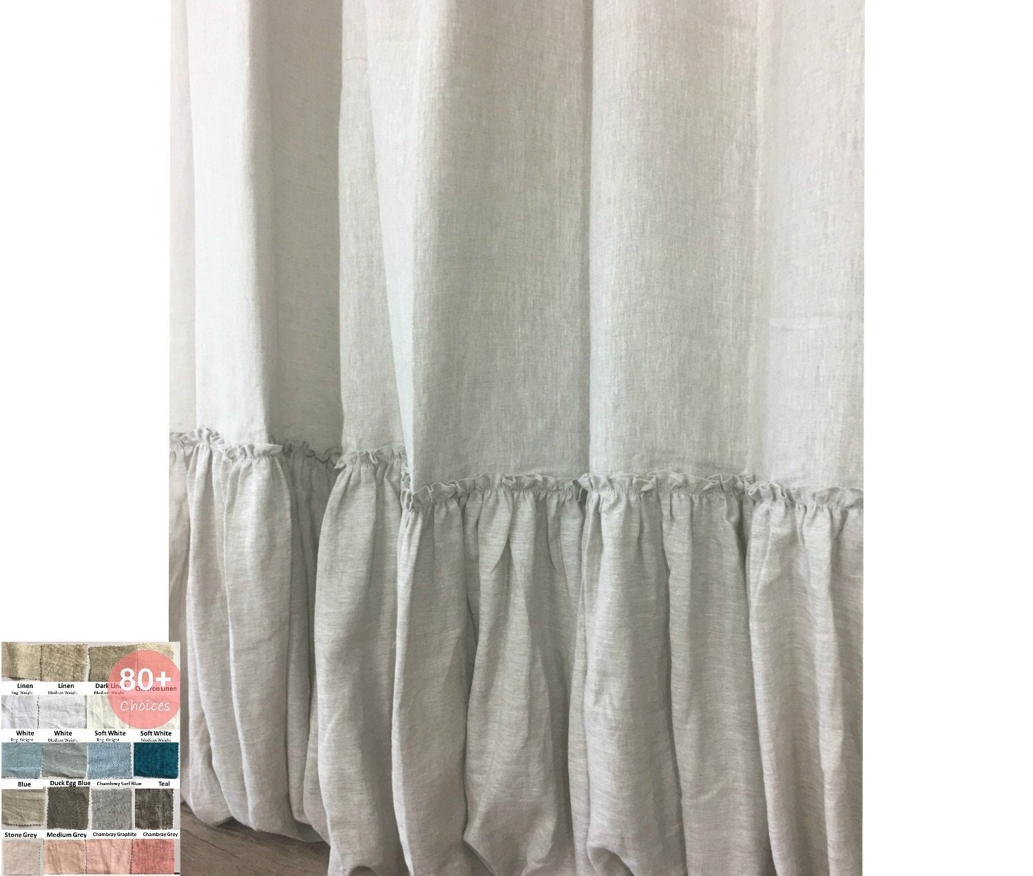 Linen Shower Curtain With Country Mermaid Long Ruffles Shabby Chic Linen Ruffle Shower Curtain Custom Size