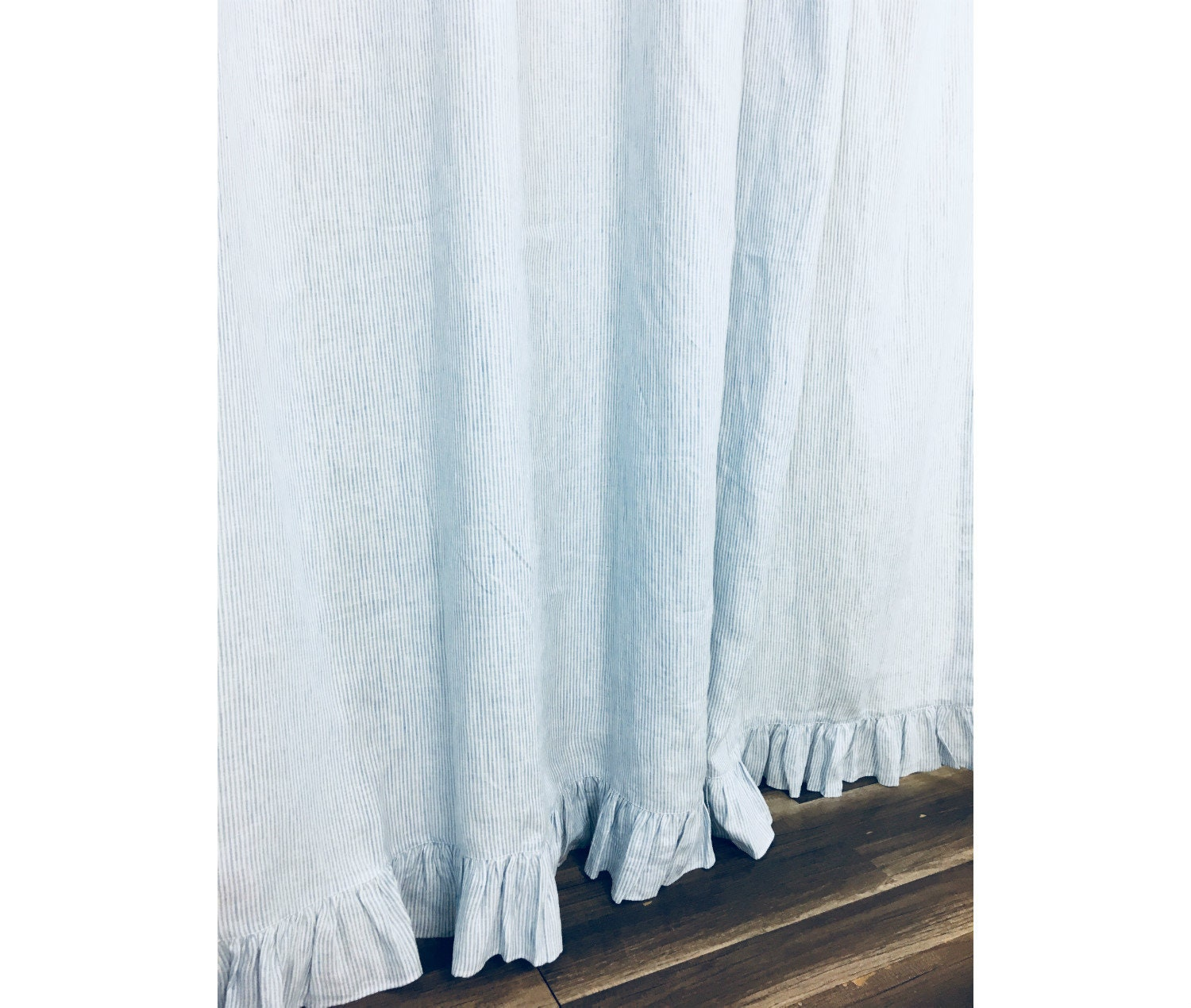 Blue White Ticking Striped Linen Shower Curtain With Ruffle Hem Extra Long Shower Curtain Custom Size Bathroom Shower Curtain