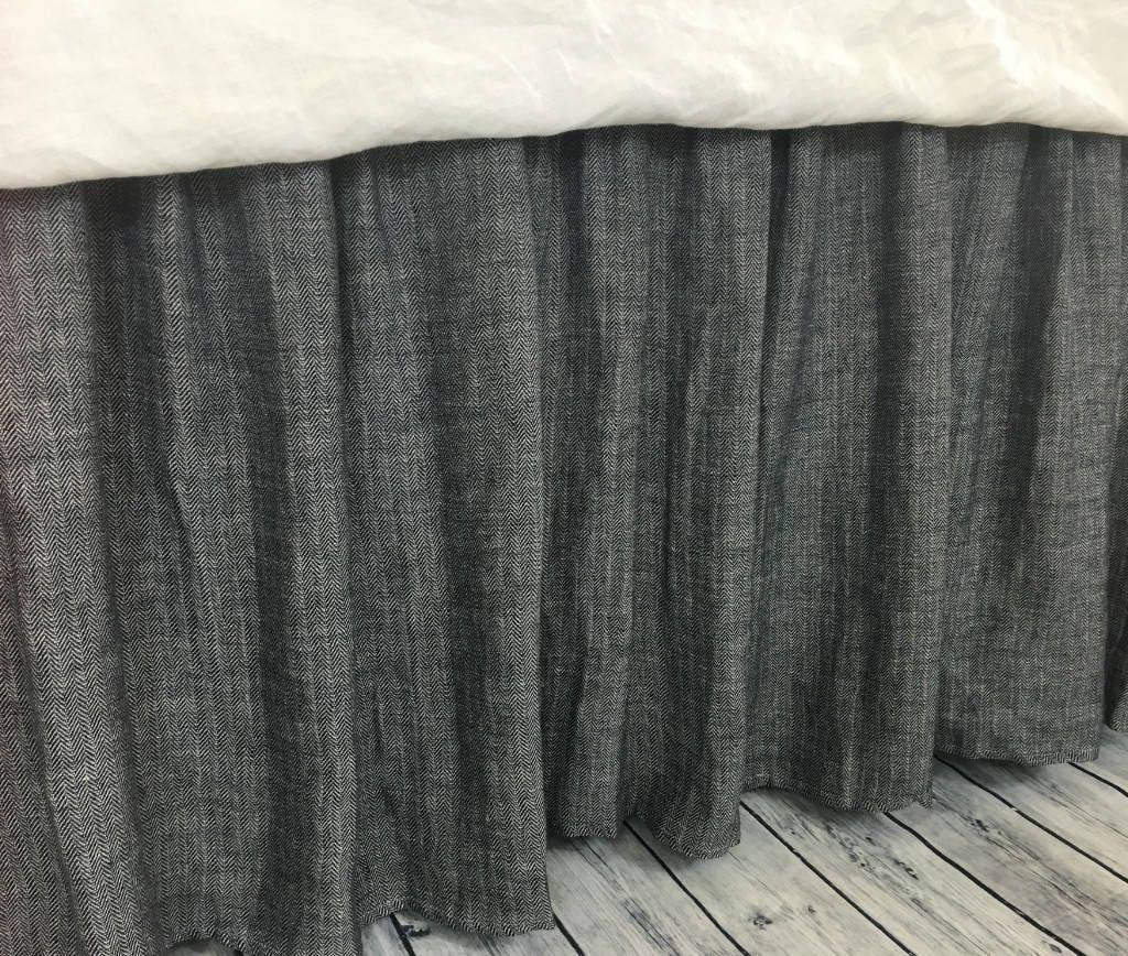 Chevron Ink Linen Bed Skirt Chevron Weave On Both Sides Etsy