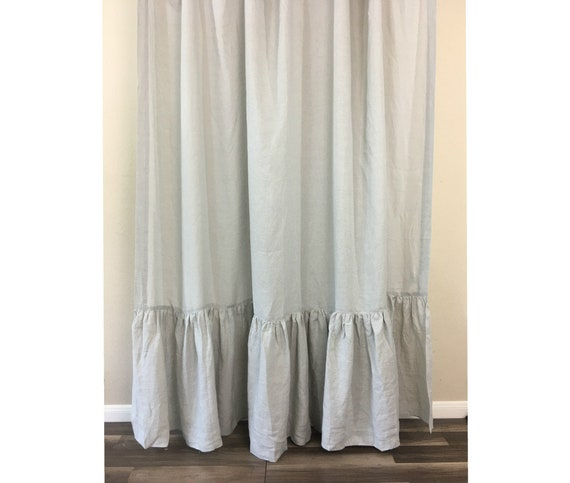 Stone Grey Linen Shower Curtain With Mermaid Long Ruffles