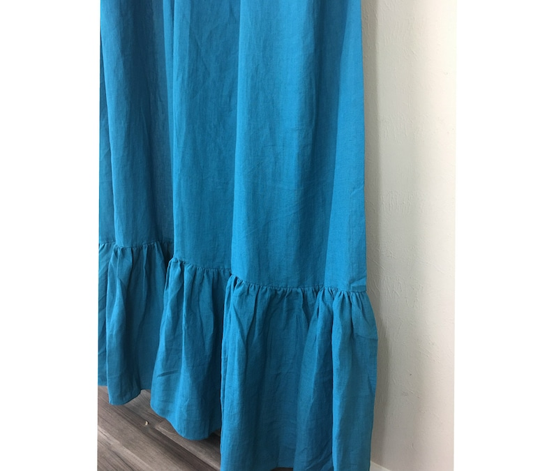 Teal Blue Linen Shower Curtain With Mermaid Long Ruffles