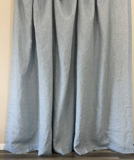 Chambray Surf Blue Linen Shower Curtain Mildew Free 72x72