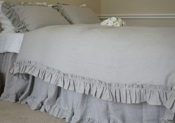 Stein Grau Rüschen Bettbezug Mit Jahrgang Rüsche Stil Leinen | Etsy