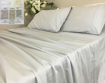 Pima Cotton Bed Sheets,Egyptian cotton long fiber bed sheets set, Sateen Weave, in White, Off White, Silver, Ivory, Lilac, Champagne