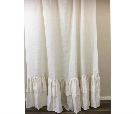 Cream Linen Shower Curtain With Double Layer Ruffles Fabulous