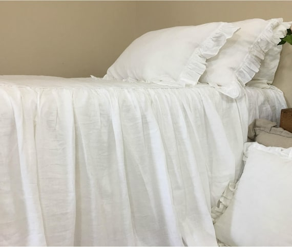 White Bedspread Natural Linen Bedspread White Linen Bed Cover Queen Bedspread King Bedspread Twin Bedspread