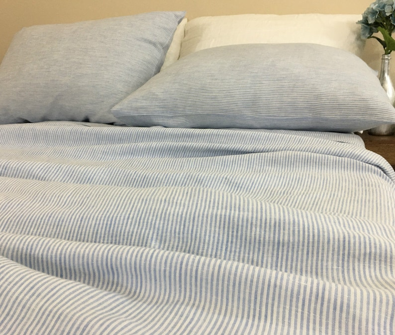 Blue And White Ticking Striped Bed Sheets Set Crafted From Etsy