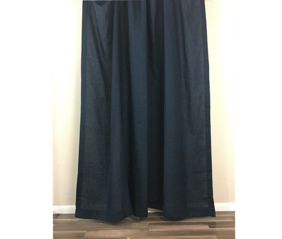 Black Linen Shower Curtain Mildew Free 72x72 72x85 72x94