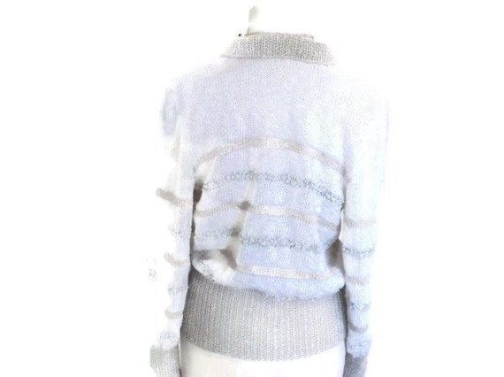 viscose Hand collar size and with waist cotton white sweater band in Swiss and yarn contrast and knitted silver striped cuffs small knit HqBwHrvA
