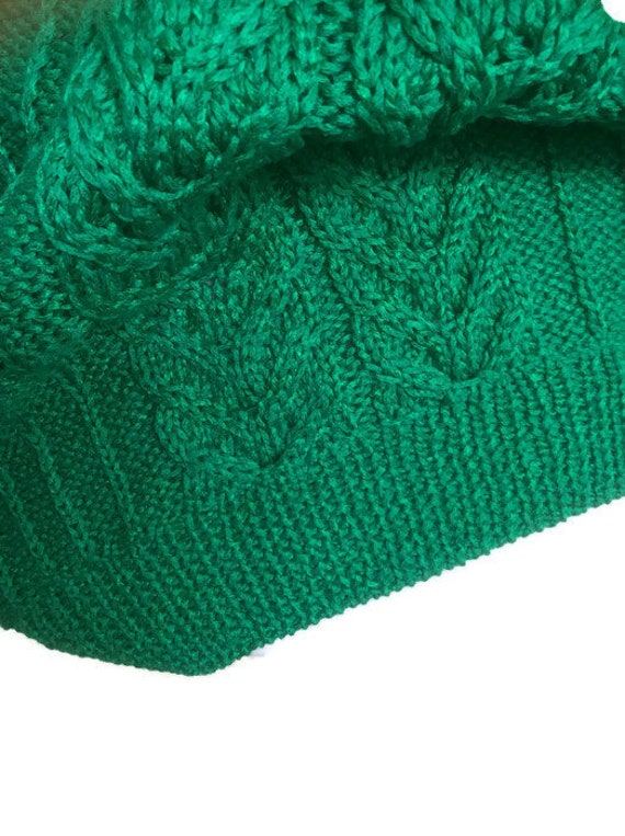 viscose sweater cable and stitch Hand ribbed Swiss to v yarn size in with knit small wide medium large green lace neck collar wwCpYF