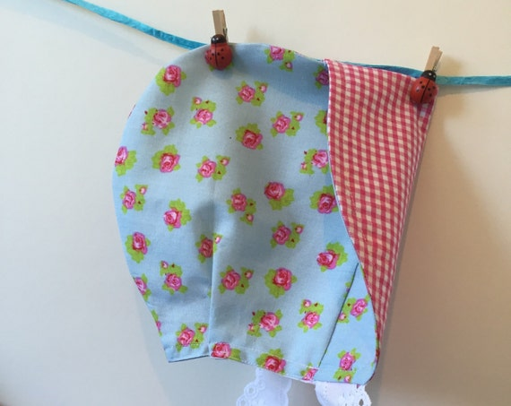Baby girl sun bonnet roses and pink and white gingham