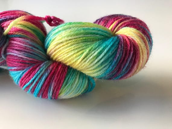 Hand dyed super wash Merino and bamboo sock yarn 'Rainbows make us happy'