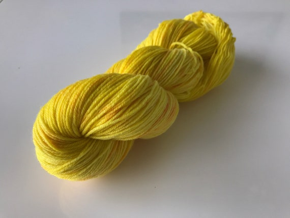 Hand dyed super wash Merino and bamboo sock yarn 'Gold'