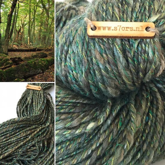 Hand spun cable art yarn in forest greens and browns. With merino wool and tencel fibre.