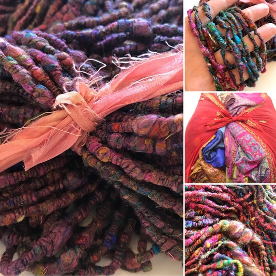 Hand spun sari silk art yarn. A lovely vibrant coloured yarn with the typical crispy soft feeling of sari silk.