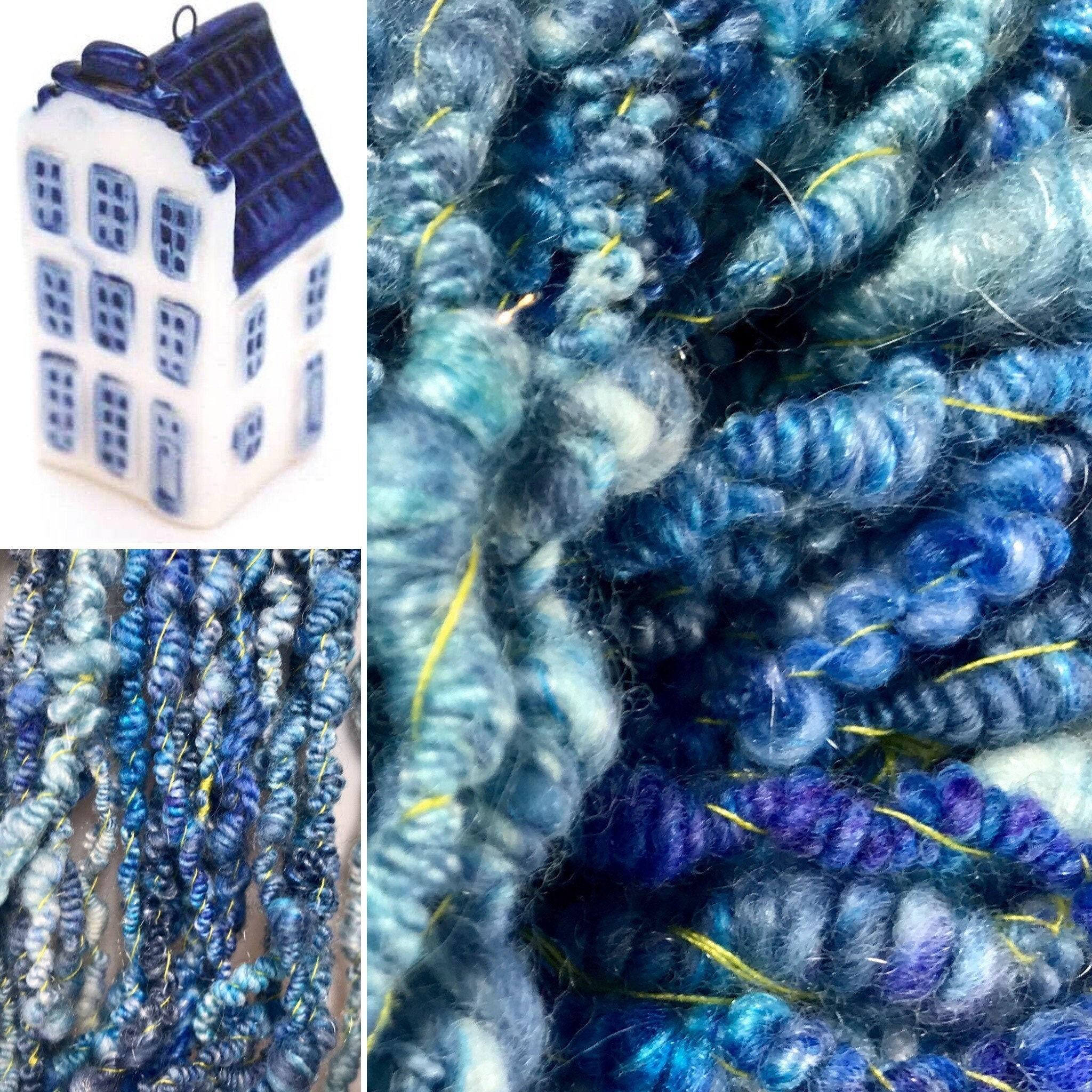Hand Spun Blue Merino and Silk Yarn