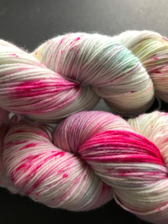 Hand dyed super wash Merino and nylon sock yarn 'When I lost my temper'