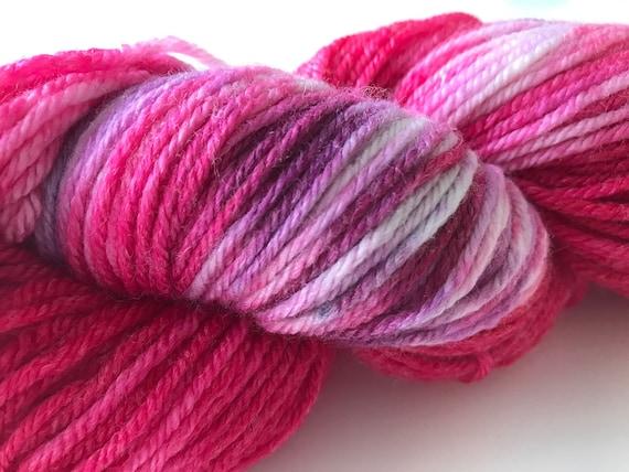 Hand dyed super wash Merino and bamboo DK weight yarn 'Pink, purple and white'