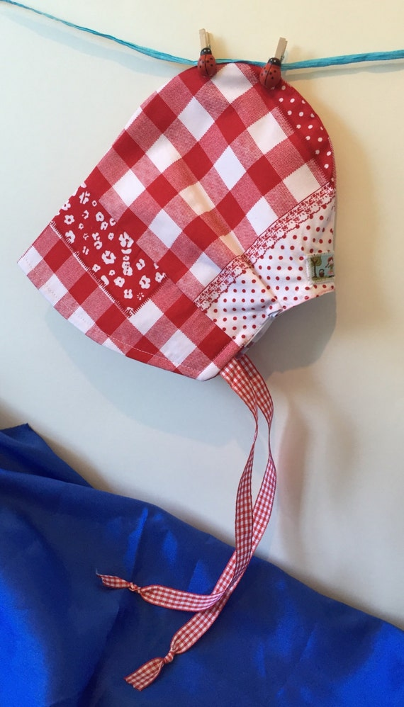 Baby girl sun bonnet red gingham