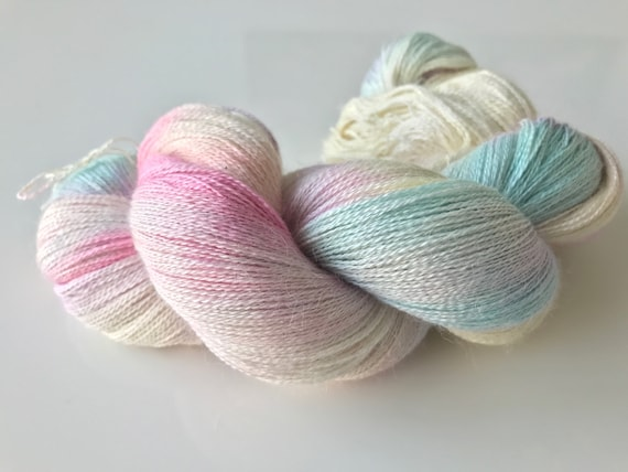 Hand dyed lace weight baby alpaca yarn in soft pastel colours
