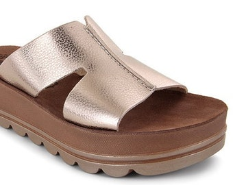 Gold sandals with flex sole technology, comfort leather sandals, ease shoes