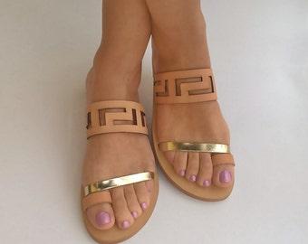 Meandros sandales / antique grec leaather sandales / grande taille sansals / sandales pour femmes
