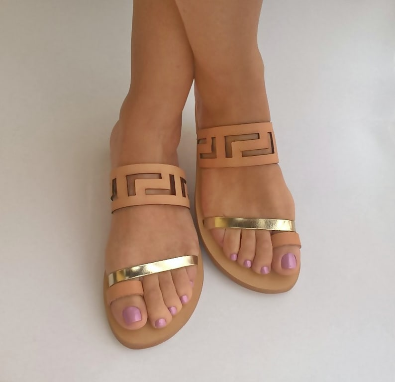 Meandros sandals / Ancient Greek leaather sandals/ Big size image 0