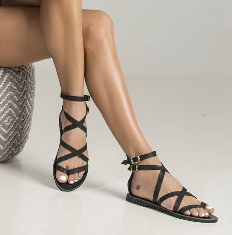 6d97a7124b40f4 Sexy black sandals Belladonna in Spartan design.