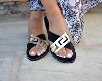 Sandales, sandales en cuir grec, méandre sandales, sandales grecques antiques, sandales en cuir, chaussures femmes, sandales à la main, sandales femmes