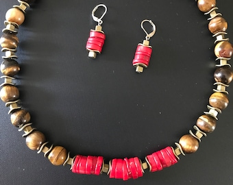 Red Coral Necklace Tiger Eye Necklace Red Necklace Brown Necklace Choker Red Coral Earrings Red Earrings Coral Set Short Necklace Gemstone