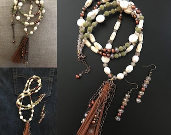 Tassel Necklace Long Necklace Pearl Necklace Beige Necklace Green Necklace Boho Necklace Hippie Necklace Lava Necklace Chain Necklace Brown