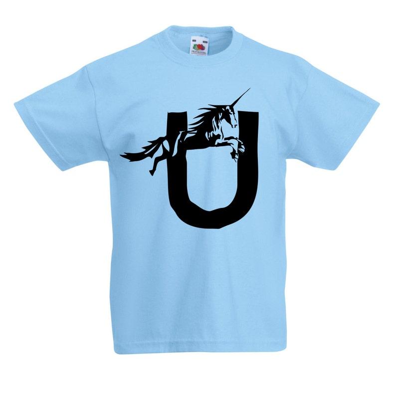 4d93c8b619ba6 Kids U is for Unicorn T-Shirt / Childrens Animal A-Z Alphabet T Shirt in  Black, Grey, Pink, Yellow, Blue Age 3-4, 5-6, 7-8, 9-11, 12-13