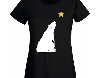 Womens Bear Gazing Polar Bear T-Shirt with Gold Star / Alternative to a Christmas Jumper