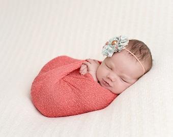 Coral Baby Wrap Newborn Photo Prop Stretch Wrap Baby Photography Wrap, Newborn Photography Prop!