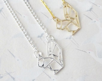 Necklace squirrel origami silvery metal or gold, necklace squirrel, jewel squirrel, pendant squirrel, gift for her