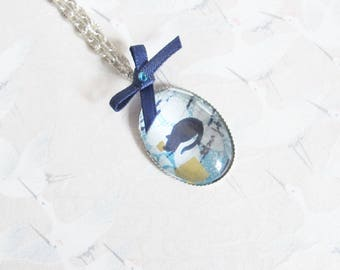 Blue Cat necklace, necklace cabochon out of silver plated, cat hand painted, cabochon Blue Cat, cat jewelry, gift for her