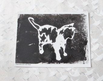 Aimant chat noir gravure art, magnet chat, decoration, aimant pour frigo, dessin d'animaux, peinture animalière , carte aimantée