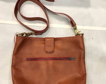 Leather cross body purse red