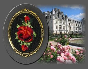 """Embroidered Brooch """"Scarlet Rose"""""""