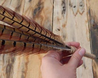 pheasant feather pen, Guestbook pen, hunter gift, Boyfriend gift, cabin decor, wedding pen, bridal pen, rustic wedding pen, boho pen, cowboy
