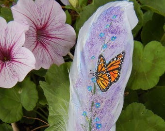 Painted feather/ orange monarch Butterfly/ lilac art/butterfly costume/butterfly decoration/orange monarch/butterfly ornament/orange wings