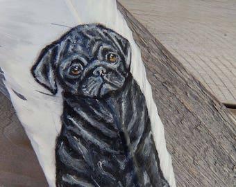 Pug painted feather pen, pug gift, pug love, pug art, cute pug, black pug, pug lover gift, pug painting,pug dog, pug puppy, pug birthday