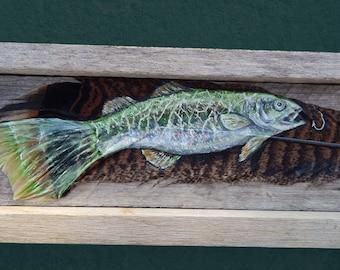 Painted feather, Fish painting, fly fisherman gift,Bass fish, Fishing gift, fisherman gift, fishing decor, fish art, fish hook, grandpa,