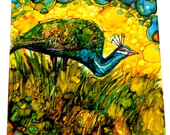 peacock painting, alcohol ink art on tile, alcohol ink ceramic tile, alcohol ink tile, coaster alcohol, ink painting, Peafowl, blue peacock