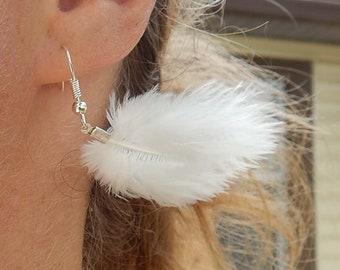 white feather earrings, wedding earrings, puff earrings, puff feather earrings, bridal earrings, white turkey feather, fluffy earrings, fuzz
